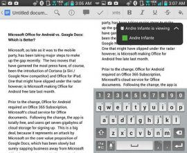 Picture of Office andriod vs Google docs