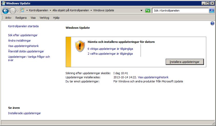skärmbild av Windows Update